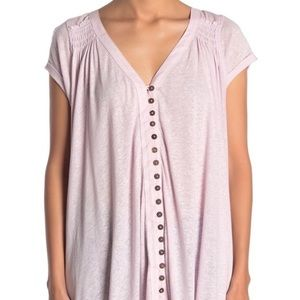 FREE PEOPLE mauve button down short sleeve top